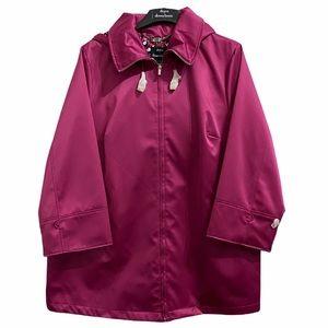 Dennis Basso Berry Satin Water Resistant Jacket